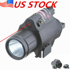 Usa Combo Tactical Cree Q5 Led Flashlight & Red Laser Sight For Rifle 20mm Rail