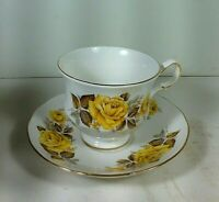Vintage Queen Anne ~ Yellow Roses # 8616 Cup and Saucer