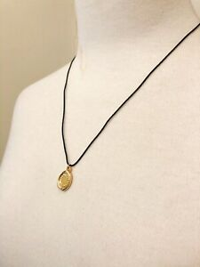 Marc by Marc Jacobs Black Cord Necklace Gold Tone Designer Stamped Charms