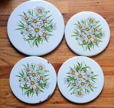 Rare Vintage Set of 4 Max Burton Enamel Stove Top Burner Covers Daisey Daisies