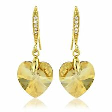 CHAMPAGNE BROWN SWAROVSKI ELEMENT CRYSTAL 18KP GOLD HEART EARRING JEWELRY GIFT