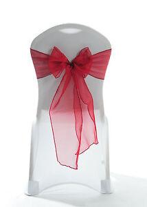 100 Deep Red Burgundy Wine Garnet Sparkle Organza Chair Bow Sash Wedding UK
