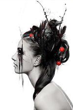 Encadrée Imprimer-gothique femme avec un corbeau dans les cheveux (horror picture Poster oiseau)