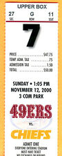 11/12/00 49ERS/CHIEFS FOOTBALL TICKET STUB