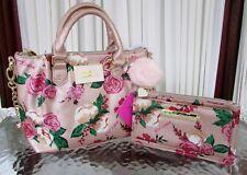 Betsey Johnson Pinch Satchel Crossbody Pink Metallic Roses & Wallet Wristlet NWT