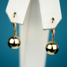 Real 14k Solid Yellow Gold Drop Dangle Polished Ball Lever Back Earrings 6mm