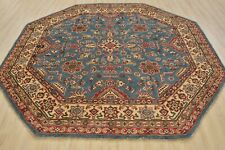 Geometric Kazak Rug, 8' x 8', Blue/Beige, All wool pile