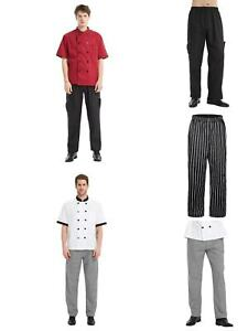 TOPTIE Mens Classic Black Cargo Style Kitchen Work Chef Pant with Elastic Waist