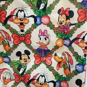 """Vintage Retro 1980s Disney Christmas Gift Wrap Wrapping Paper 27"""" Roll"""