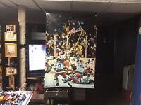 New HUGE! 44x29. USA HOCKEY vinyl Banner POSTER Wayne Gretzky ART 1980 Olympics.