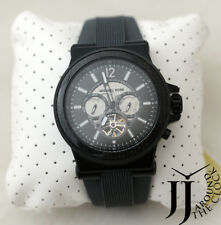 New Michael Kors Men Automatic Dylan Black Case Gray Silicone Watch 48mm MK9026