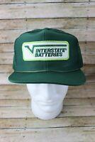Vintage Interstate Batteries Snapback Mesh Trucker Hat Cap Patch Green