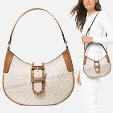 NWT 🍂 Michael Kors Lillian Small Shoulder Bag MK Logo PVC Vanilla Acorn Brown