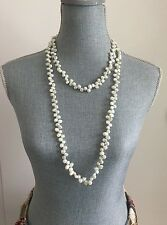 New Long Elegant Natural Freshwater Pearl necklace Silver Gray 52 Inches