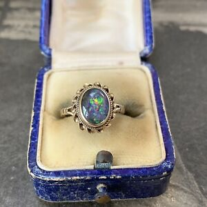 9ct Gold Black Opal Doublet Ring Victorian Style Vintage Hallmarked 1970's UK I