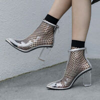 Sexy Womens Transparent Block Crystal Heel Pointy Toe Back Zip Ankle Boots Pumps