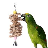 Parrot Bird Toys Natural Wooden Grass Chewing Bite Hanging Cage Bell Climb Swing