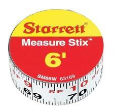 Starrett Measure Stix Sm66W Steel White Measure Tape With Adhesive Backing