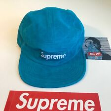 Supreme SS17 Suede Camp Cap BOX LOGO HAT CLASSIC BLUE FLORAL LEATHER MILITARY DS