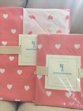2pc Pottery Barn Kids Coral Hearts HEART Duvet Cover Standard Sham Set NW Twin