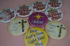 Lot of 9 RELIGIOUS ASSORTED BUTTONS  pins Irregular  FREE S/H  Christian church