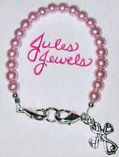 Light Rose Pink Glass Pearl Beads Medical Alert ID Bracelet W/ Cross Charm.