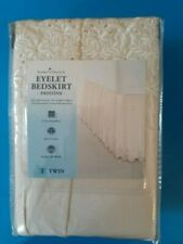 home classics eyelet bedskirt pristine twin beige, tan, off white, ivory