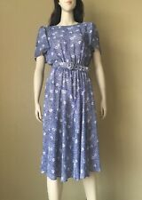 Women's Vintage Blue Abstract Floral Belted Secretary Dress Knee Length Bias Cut