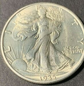 1935 D Walking Liberty silver half dollar, BU