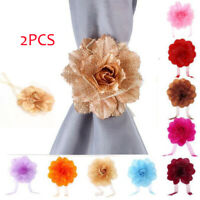 2PCS Clip-On Rose Flower Tie Backs / Holdbacks For Voile & Net Curtain Holdback