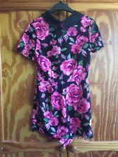 AX Paris Black And Pink Floral Playsuit, Size 8