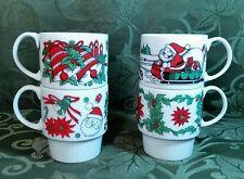 Vintage Trimont Ware Japan Christmas Stacking Mugs Red & Green Santa sleigh EUC