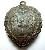 Antiker Heiligen Anhänger Schutzamulett herzförmig Bronze & Glas 18.Jh. RAR!