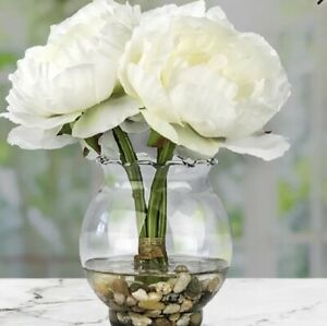 Peony W/ Fluted Vase Silk Flower Arrangement White Nearly Natural Home Decor