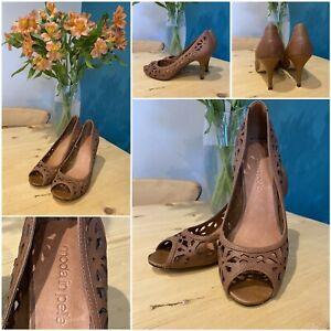 ladies moda in pelle brown peep toe stiletto heel shoes uk 4 eu37 used