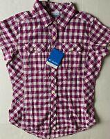 Women's Columbia Siletz Point Short Sleeve Shirt Purple Plaid Sz M - NWT