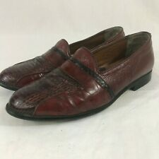 Stacy Adams Men's Size 9.5 M Genuine Snake Leather Dress Shoes Loafers Burgundy