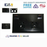 Black DGPO Double GPO Twin Electrical Socket Outlet Power Point 10 Amp Twin