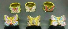 Sale!  Exquisite Artisan Set of 6 Rhinestone Butterfly Beaded Napkin Rings SALE!
