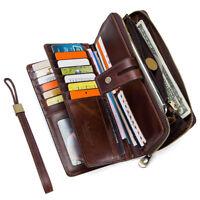 Men's Genuine Leather Wallet Card Passport Holder Travel Organizer Wrislet Purse