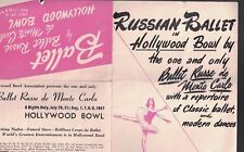 Ballet Russe de Monte Carlo at Hollywood Bowl Ad Brochure 1947