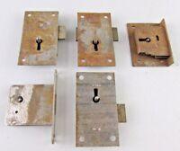 Lot of 5 Antique Vintage flush mortise Lock restoration desk clock cabinet
