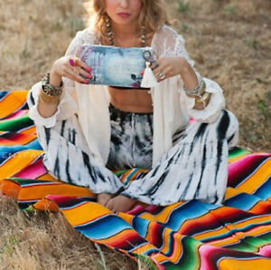 Mexican Blanket Rainbow Yoga Picnic Camping Home Tapestry Shawl Cloak Rug
