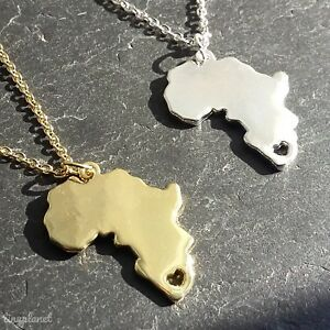 AFRICA MAP HEART NECKLACE PENDANT CHAIN GIFT TRAVEL AFRICAN CHARM