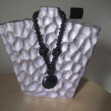 elegante collana originale con pietre in onice nera - fermaglio in nichel