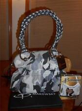 B MAKOWSKY PEWTER/MULTI TOP ZIP SATCHEL W/SLEEPER BAG & FASHION BOOKLET-BNWT