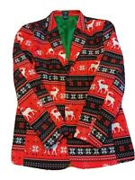 Christmas Ugly Sweater Reindeer Blazer Suit Jacket - Men's Size Medium
