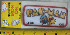 "VINTAGE PACMAN MIDWAY VIDEO GAME ARCADE EMBROIDERED IRON ON PATCH 4.25"" x 2"" NOS"