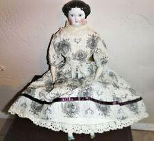 Estate,Antique Porcelain doll, black hair,blue eyes,black/white Victorian dress