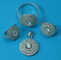 New Solid 925 Sterling Silver  Cz Set Earrings Pendant Ring Size P 1/2 Jewellery